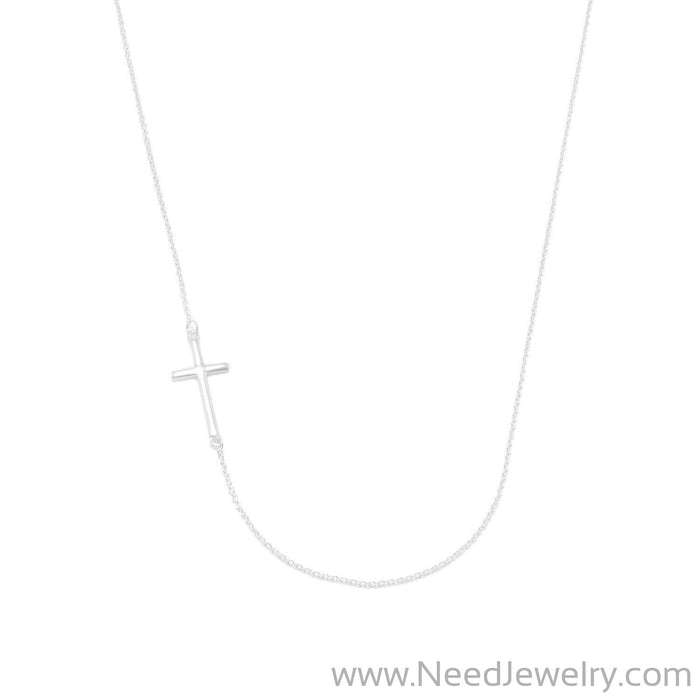 "16"" + 2"" Necklace with Off Center Cross-Necklaces-Needjewelry.com"