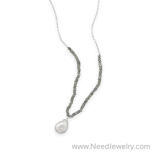 "16""+2"" Labradorite and Baroque Pearl Drop Necklace-Necklaces-Needjewelry.com"