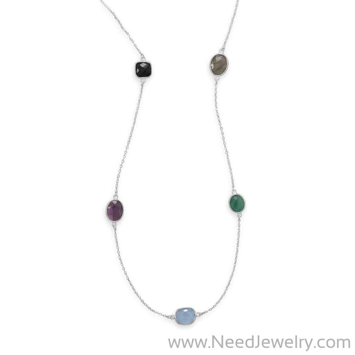 "22.5"" Multistone Necklace-Necklaces-Needjewelry.com"
