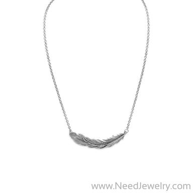 "16"" + 2"" Oxidized Feather Necklace-Necklaces-Needjewelry.com"