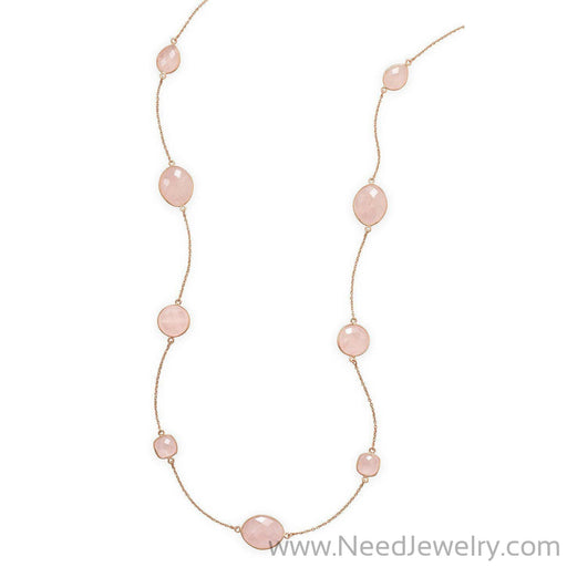 "24"" 14 Karat Rose Gold Plated Rose Quartz Necklace-Necklaces-Needjewelry.com"