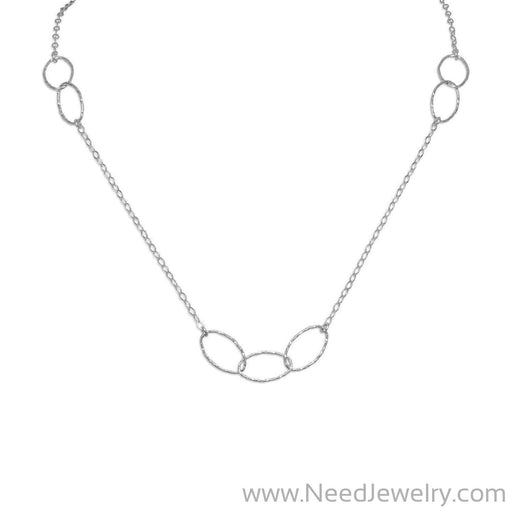 "27.5"" Rhodium Plated Multi size Oval Link Necklace-Necklaces-Needjewelry.com"