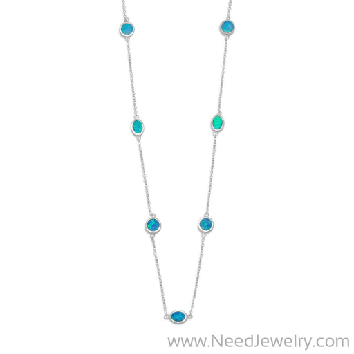 "16"" + 2"" Rhodium Plated Synthetic Blue Opal Necklace-Necklaces-Needjewelry.com"