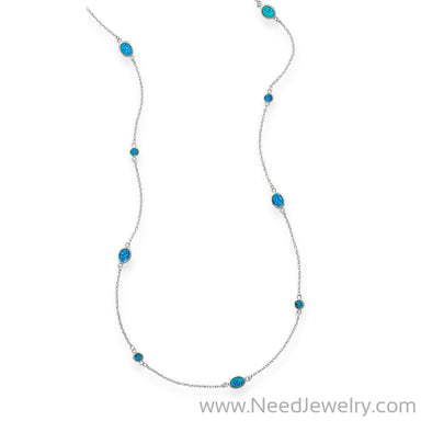 "46"" Multishape Synthetic Blue Opal Necklace-Necklaces-Needjewelry.com"