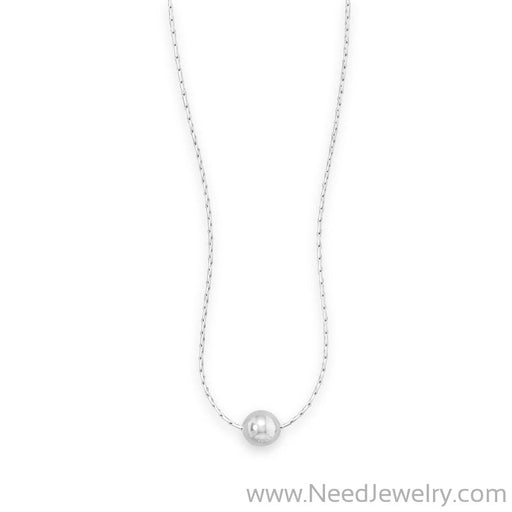 "16"" Rhodium Plated Necklace with Polished Bead-Necklaces-Needjewelry.com"