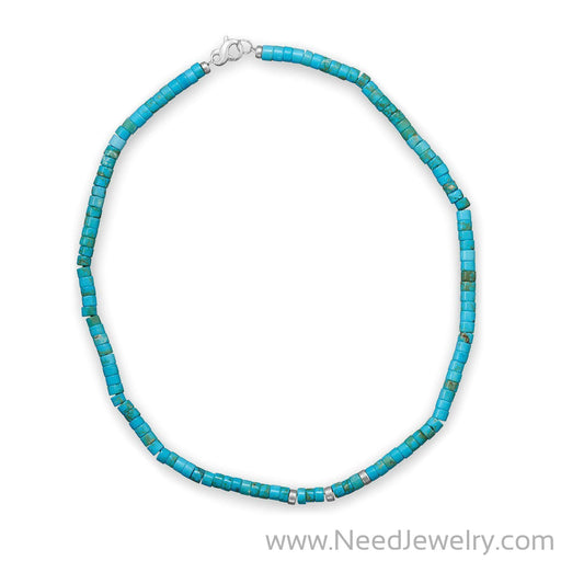 "21"" Reconstituted Turquoise Heshi Bead Necklace-Necklaces-Needjewelry.com"