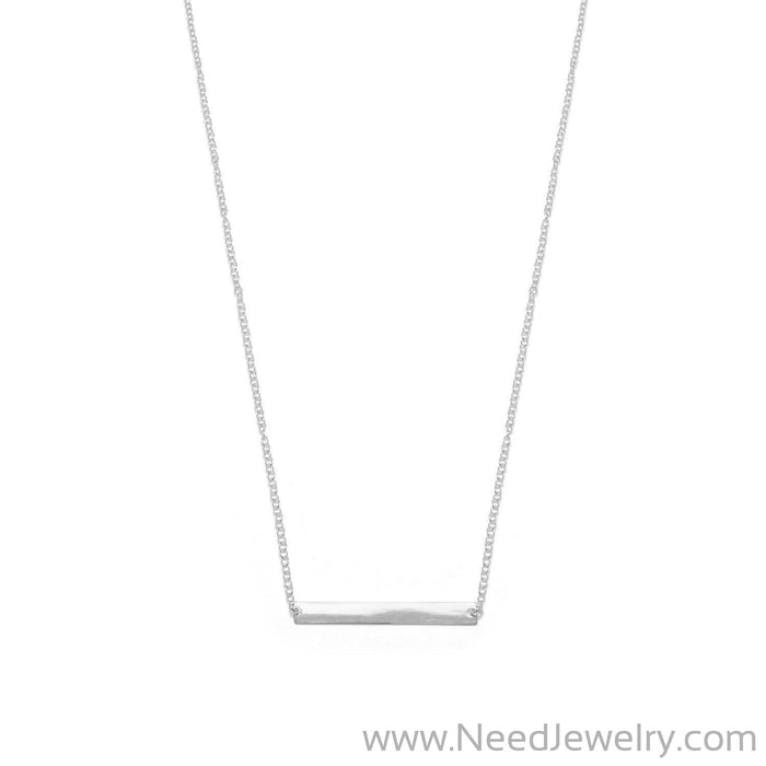"16"" + 2"" Thin Bar Nameplate Necklace-Necklaces-Needjewelry.com"