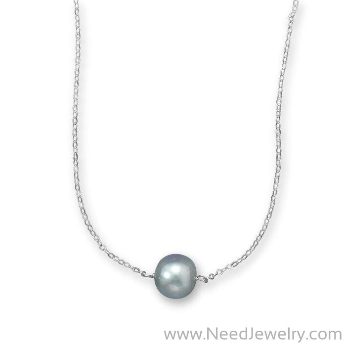 "16"" + 2"" Silver Cultured Freshwater Pearl Necklace-Necklaces-Needjewelry.com"