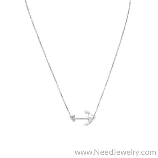 "16"" + 2"" Rhodium Plated Sideways Anchor Necklace-Necklaces-Needjewelry.com"