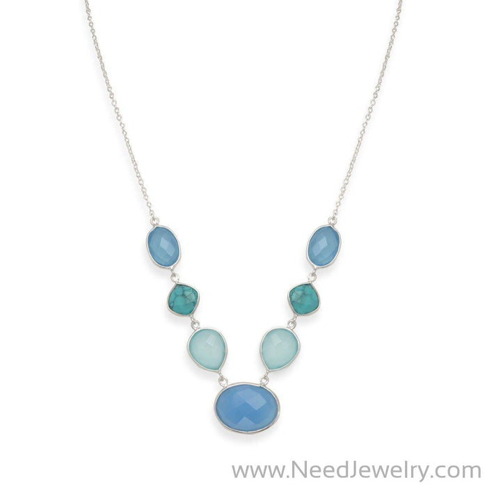 Stabilized Turquoise and Chalcedony Necklace-Necklaces-Needjewelry.com