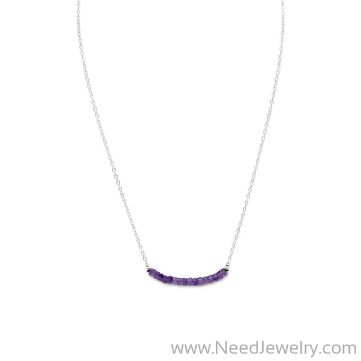 Amethyst Bead Necklace - February Birthstone-Necklaces-Needjewelry.com