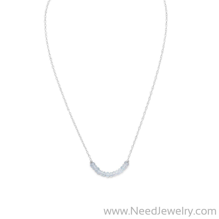 Faceted Aquamarine Bead Necklace - March Birthstone-Necklaces-Needjewelry.com