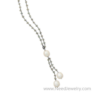 Labradorite Necklace with Cultured Freshwater Pearl Drop-Necklaces-Needjewelry.com