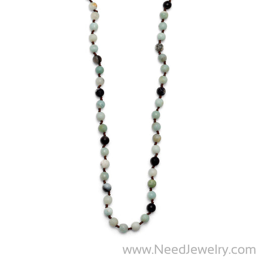 Faceted Amazonite Knotted Necklace-Necklaces-Needjewelry.com