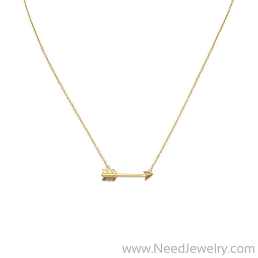14 Karat Gold Plated Aim High Arrow Necklace-Necklaces-Needjewelry.com