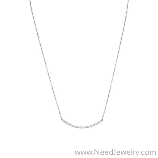 "18"" + 2"" Rhodium Plated Curved CZ Bar Necklace-Necklaces-Needjewelry.com"