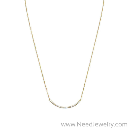 "18"" + 2"" 14 Karat Gold Plated Curved CZ Bar Necklace-Necklaces-Needjewelry.com"