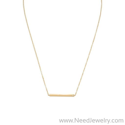 "18"" 14 Karat Gold Plated Bar Necklace with CZ-Necklaces-Needjewelry.com"
