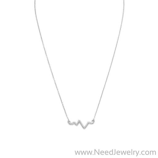 "18"" Rhodium Plated Heartbeat Necklace-Necklaces-Needjewelry.com"