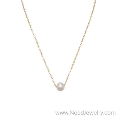 "16"" + 2"" Gold Filled Floating Cultured Freshwater Pearl Necklace-Necklaces-Needjewelry.com"