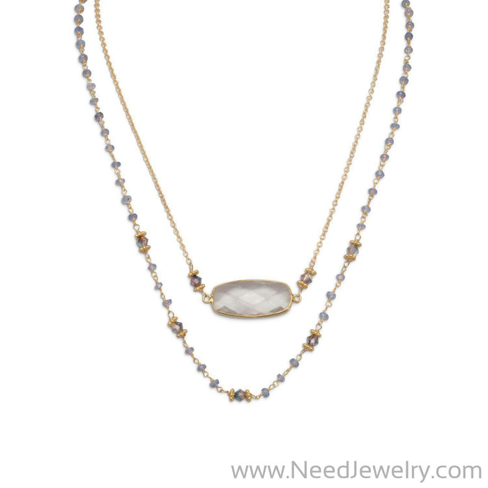 14 Karat Gold Plated Double Strand Tanzanite and Quartz Necklace-Necklaces-Needjewelry.com