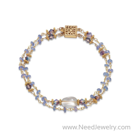 14 Karat Gold Plated Double Strand Tanzanite and Citrine Bracelet-Bracelets-Needjewelry.com