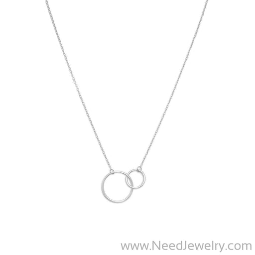"16"" + 2"" Rhodium Plated Circle Link Necklace-Necklaces-Needjewelry.com"