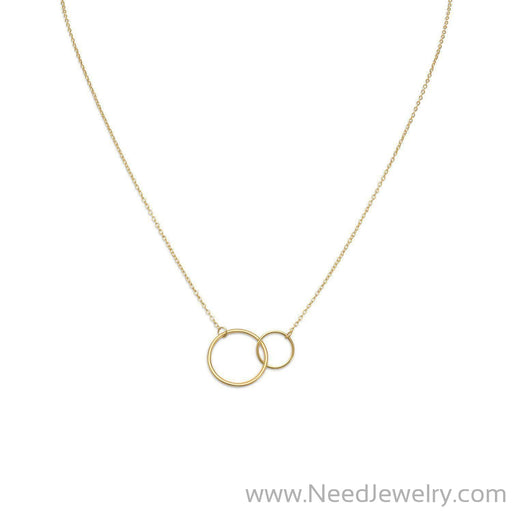 "16"" + 2"" 14 Karat Gold Plated Circle Link Necklace-Necklaces-Needjewelry.com"