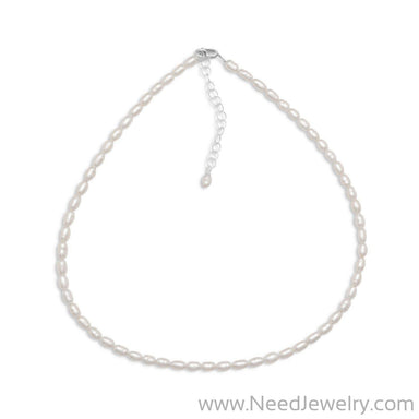 "13"" + 2"" Cultured Freshwater Rice Pearl Necklace-Necklaces-Needjewelry.com"