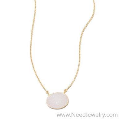 "16"" + 2"" 14 Karat Gold Plated White Druzy Necklace-Necklaces-Needjewelry.com"