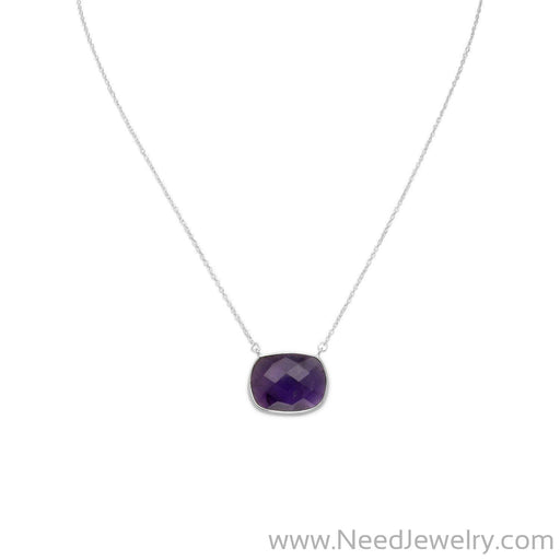 "16"" + 2"" Faceted Oval Amethyst Necklace-Necklaces-Needjewelry.com"