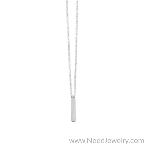 "18"" Sterling Silver Drop Bar Necklace-Necklaces-Needjewelry.com"