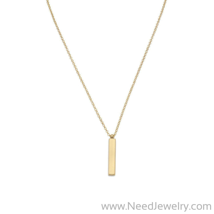 "18"" 14 Karat Gold Plated Drop Bar Necklace-Necklaces-Needjewelry.com"