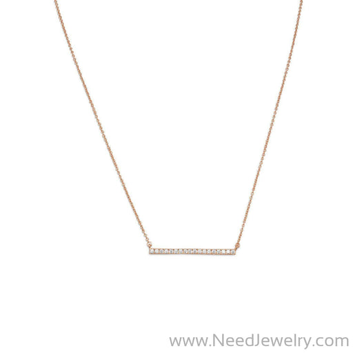 14 Karat Rose Gold Plated CZ Bar Necklace-Necklaces-Needjewelry.com