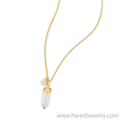14 Karat Gold Plated Spike Pencil Cut Clear Quartz Necklace-Necklaces-Needjewelry.com