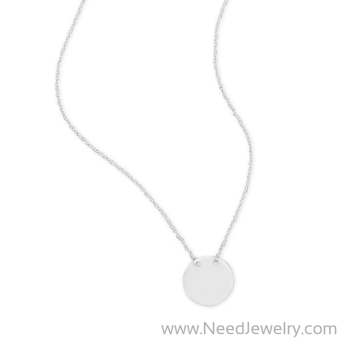 Polished Round Engravable Disk Necklace-Necklaces-Needjewelry.com