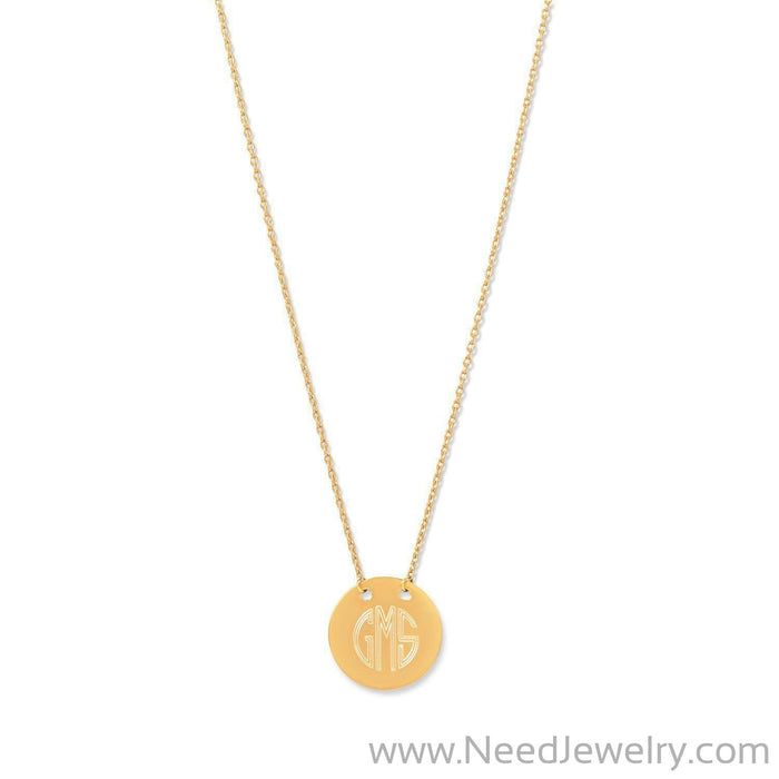 14 Karat Gold Plated Polished Round Engravable Disk Necklace-Necklaces-Needjewelry.com