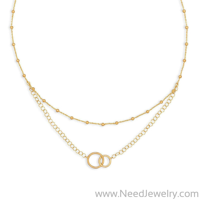 "16"" 14 Karat Gold Plated Multistrand Beaded Necklace with Circle Link-Necklaces-Needjewelry.com"