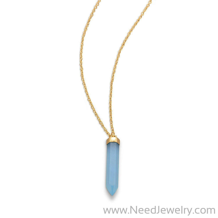 14 Karat Gold Plated Spike Pencil Cut Blue Chalcedony Necklace-Necklaces-Needjewelry.com