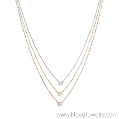 Graduated Tri Tone Necklace with CZs-Necklaces-Needjewelry.com