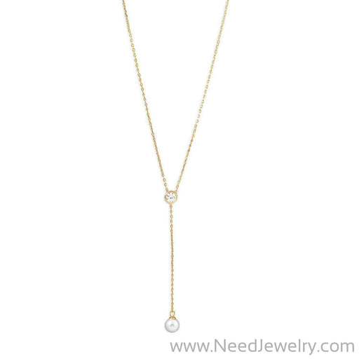 14 Karat Gold Plated Necklace with CZ and Imitation Pearl Drop-Necklaces-Needjewelry.com