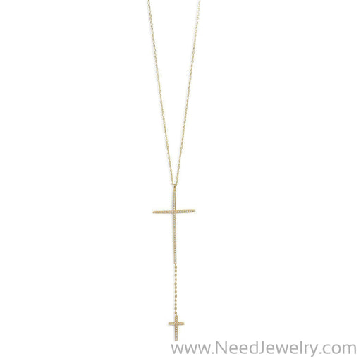 14 Karat Gold Plated Necklace with Double CZ Cross Drop-Necklaces-Needjewelry.com