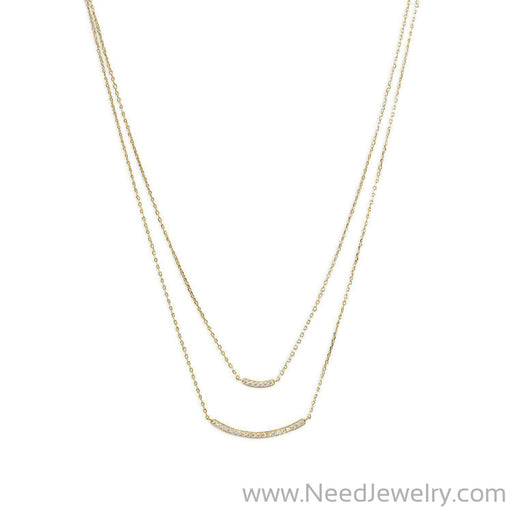14 Karat Gold Plated Double Strand Curved CZ Bar Necklace-Necklaces-Needjewelry.com
