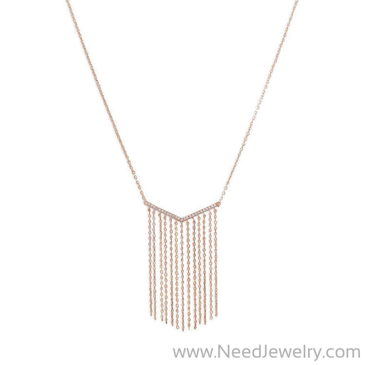 "14 Karat Rose Gold Plated ""V"" Tassel Drop Necklace-Necklaces-Needjewelry.com"