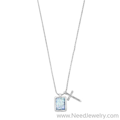 Roman Glass and Cross Charm Necklace-Necklaces-Needjewelry.com