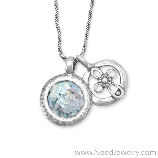 Roman Glass and Cut Out Cross Charm Necklace-Necklaces-Needjewelry.com
