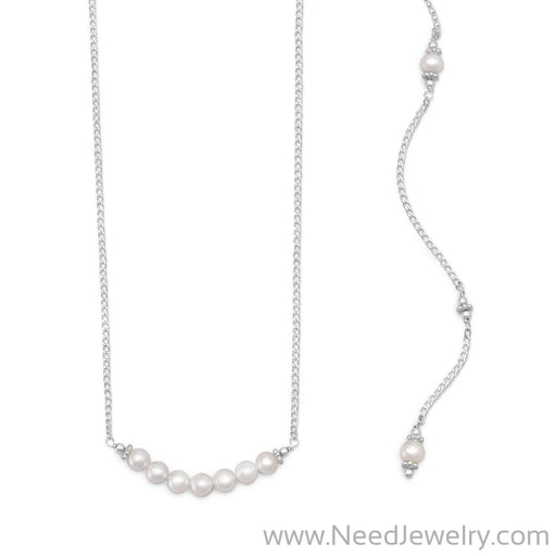 Beautiful Cultured Freshwater Pearl Back Drop Necklace-Necklaces-Needjewelry.com