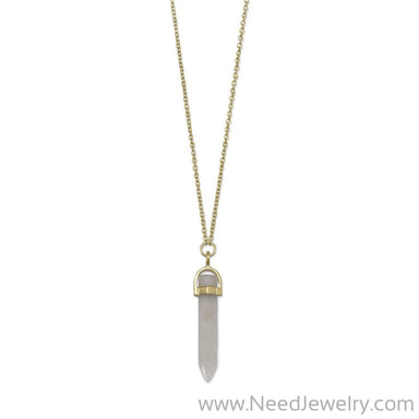 14 Karat Gold Plated Spike Pencil Cut Gray Moonstone Necklace-Necklaces-Needjewelry.com