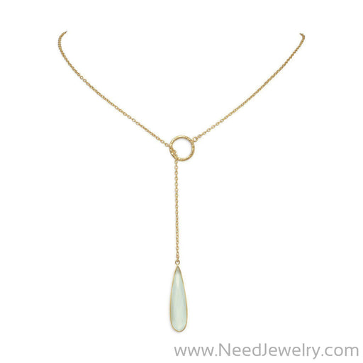 14 Karat Gold Plated Lariat Necklace with Chalcedony Drop-Necklaces-Needjewelry.com