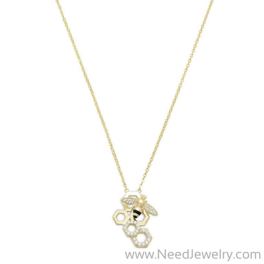 14 Karat Gold Plated and Signity CZ Bee Necklace-Necklaces-Needjewelry.com